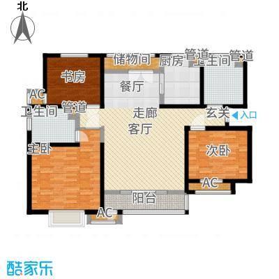 意境兰庭126.00㎡高层标准层C1户型3室2厅