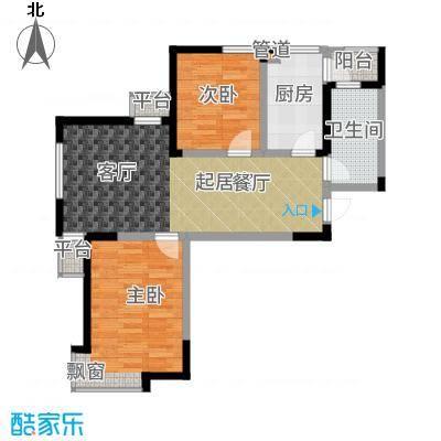 紫熙臺91.00㎡洋房1#楼标准层A户型2室2厅