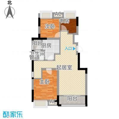 宏图上水庭院96.43㎡小高层10#1-10层G90-1户型3室2厅