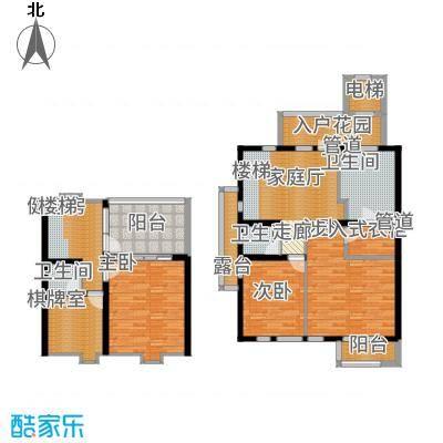 长发都市诸公140.00㎡上叠A上叠二层和阁楼户型4室3厅