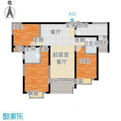 雅居乐滨江国际129.00㎡君悦组团8B3-02户型3室2厅