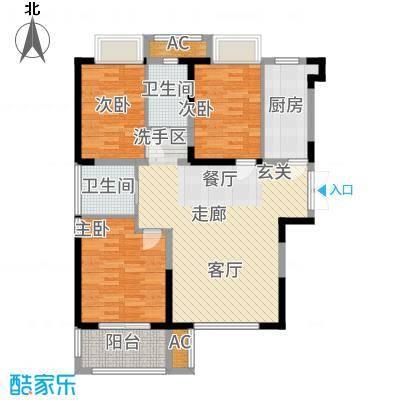 荣盛莉湖春晓96.00㎡E1户型3室2厅