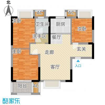 荣盛莉湖春晓86.52㎡F1户型3室2厅