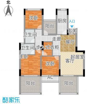 骋望七里楠花园122.00㎡洋房L户型4室2厅