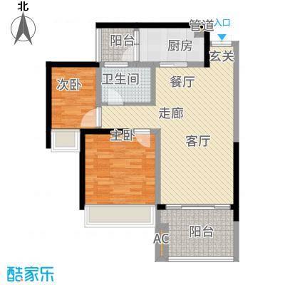 两江国际85.00㎡住宅B户型2室2厅