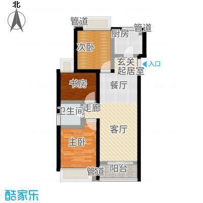 合生天戴河90.00㎡高层B户型3室2厅
