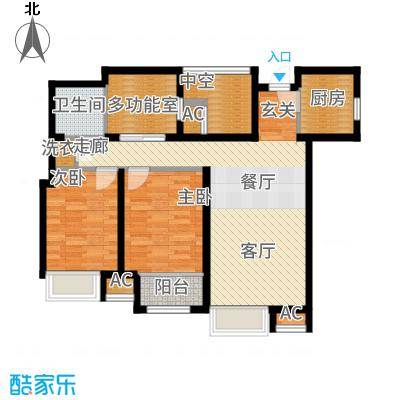 曦城花语93.53㎡一期高层G3E户型3室2厅