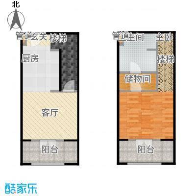一杯澜80.00㎡一号楼公寓复式A2户型1室2厅
