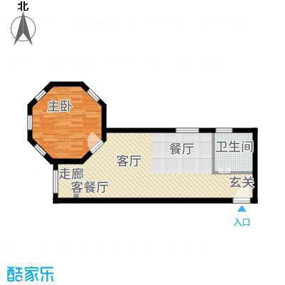 紫澜香郡63.35㎡公寓E户型1室1厅