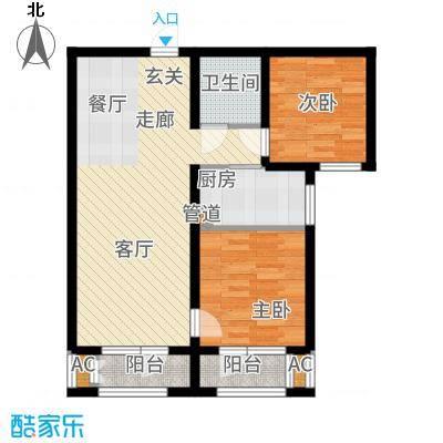 香邑溪谷86.00㎡卢卡高层G2户型2室2厅