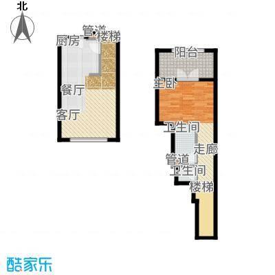 一杯澜81.00㎡一号楼公寓复式A8户型1室2厅