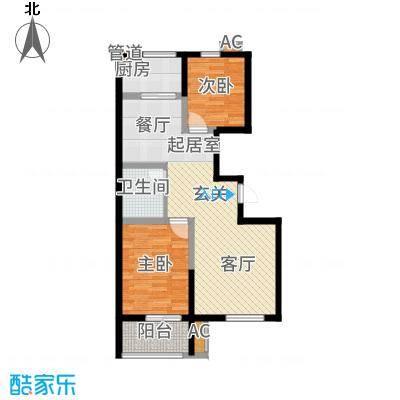 博维左岸香颂88.60㎡小高层B2户型2室2厅