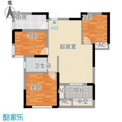 名湖豪庭101.56㎡8、10号楼C2户型3室2厅