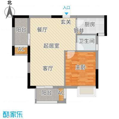 光谷地产梅花坞76.00㎡C栋C1户型2室2厅