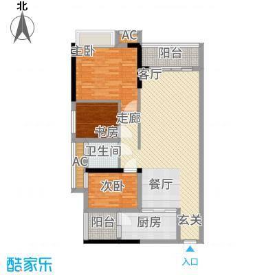 港湾江城94.00㎡13、14栋02户型2室2厅