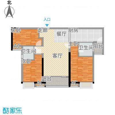 港湾江城114.00㎡5、6栋01户型3室2厅