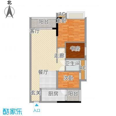 港湾江城94.00㎡13、14栋03户型2室2厅