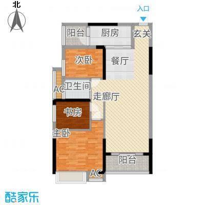 港湾江城98.00㎡1栋01、05户型3室2厅