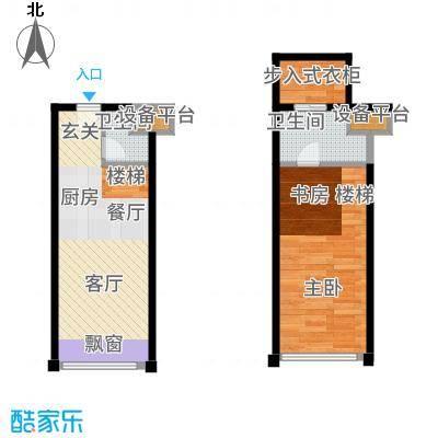 世茂广场天誉43.00㎡A2户型1室1厅