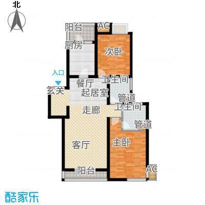 白塘壹号115.00㎡6、11、17#E户型2室2厅