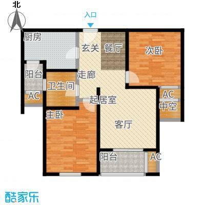 建屋海德公园85.00㎡二期21#标准层0B4户型2室2厅