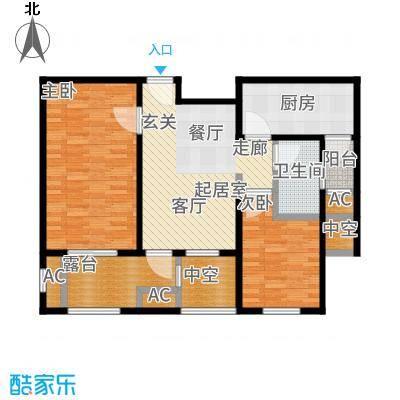 建屋海德公园89.00㎡二期21#标准层0B5户型2室2厅