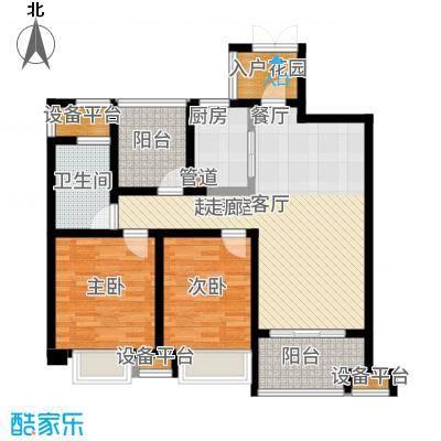 运河公馆90.00㎡高层标准层A2户型2室2厅