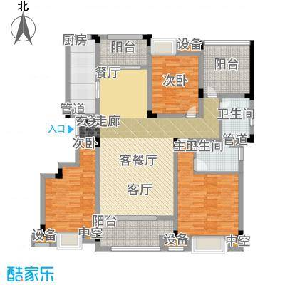 鑫苑湖居世家140.00㎡洋房标准层户型3室2厅