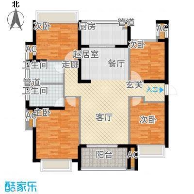 雅戈尔太阳城缘邑125.00㎡户型4室2厅