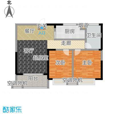 天鸿尹山湖韵佳苑84.60㎡D1户型2室2厅