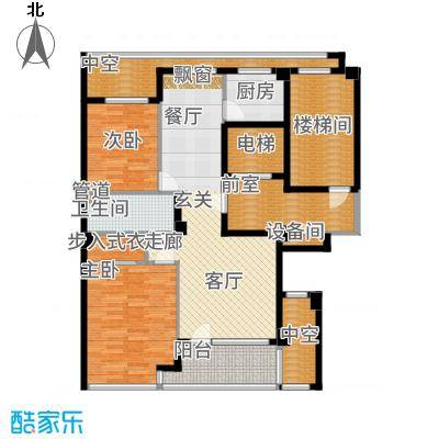 绿城百合花园98.00㎡D9#楼A1户型2室2厅