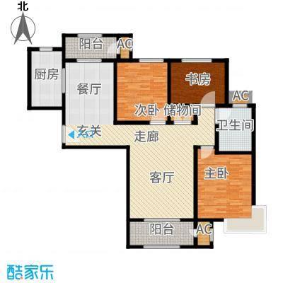 中铁逸都国际122.00㎡户型3室2厅