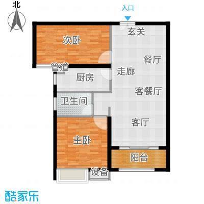 茗美花园93.00㎡2#楼F户型2室2厅