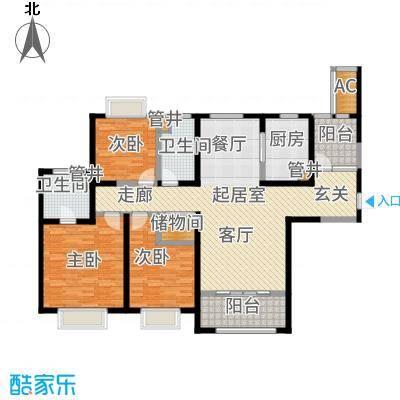 红豆人民路九号143.00㎡12#楼A户型3室2厅