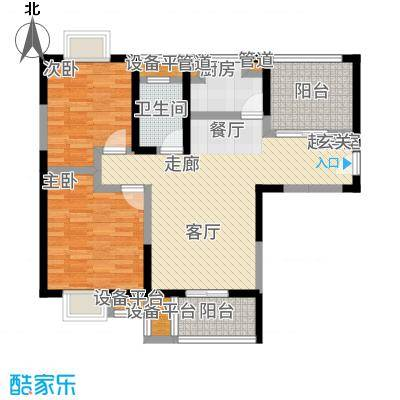 美新玫瑰大道88.00㎡户型2室2厅