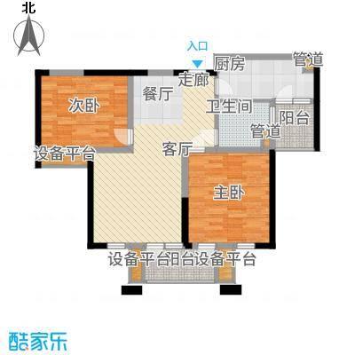 太湖国际社区88.71㎡聆湖J2户型2室2厅