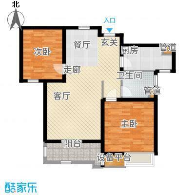 太湖国际社区88.75㎡聆湖E2户型2室2厅