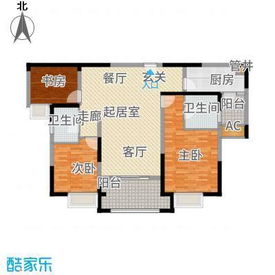 红豆人民路九号128.00㎡7#楼B户型3室2厅