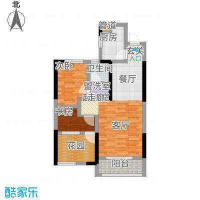 旭辉香樟公馆74.59㎡1号栋F户型2室2厅