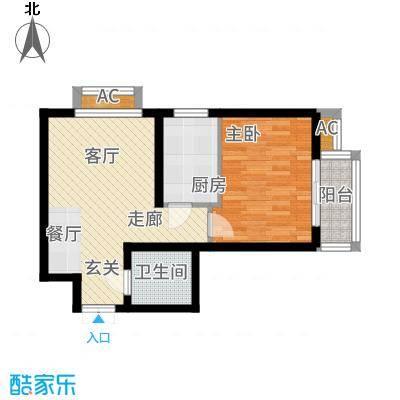 燕西台52.41㎡C-1户型1室2厅