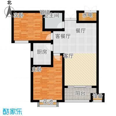御江景城84.78㎡8#楼B户型2室2厅