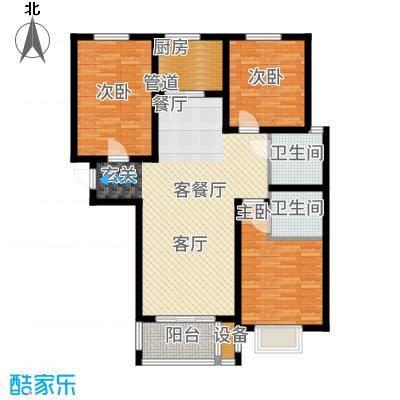 御江景城107.02㎡小高层E户型3室2厅