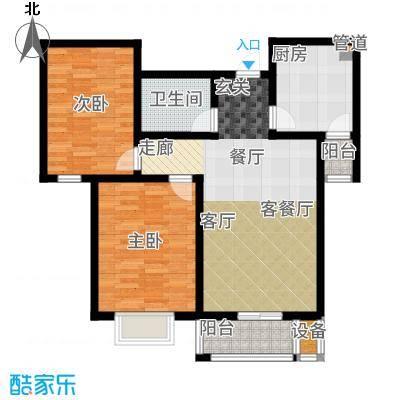 御江景城85.04㎡小高层D户型2室2厅
