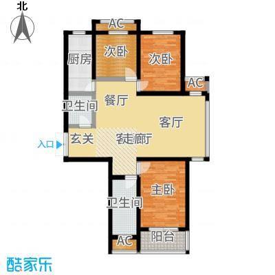 泰丰观湖128.96㎡5#C3户型3室2厅