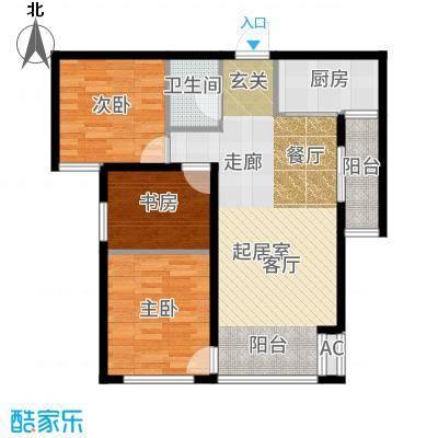 主语城105.00㎡高层户型3室2厅