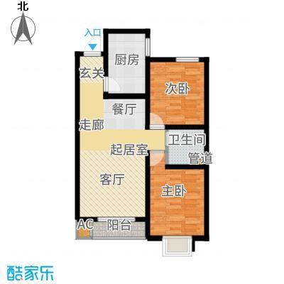 外滩森林85.72㎡4号楼1、2单元B户型2室2厅