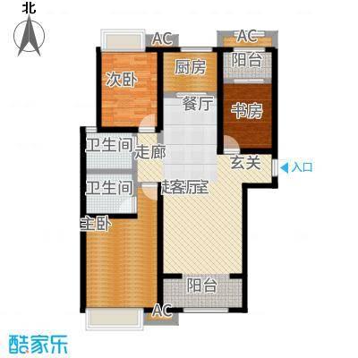 红石原著小区131.80㎡2-7#E4户型3室2厅