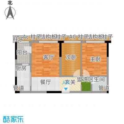 万科朗润园三期22栋标准层户型2室2厅