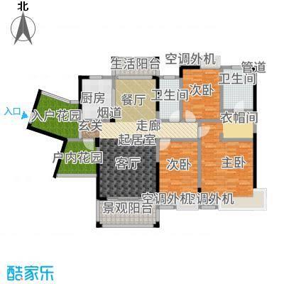 盈拓御江137.53㎡1号楼1-2单位户型3室2厅