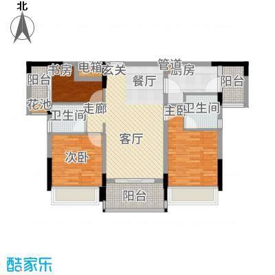 美丽湾畔花园96.79㎡1号楼标准层02户型3室2厅